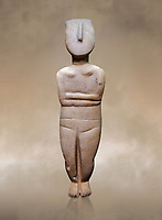 Female figurine statuette: Cycladic Canonical type, combining Dokathismata and Spedos variety. Early Cycladic Period II, (2800-2300 BC), 'Steiner Master'.  Museum of Cycladic Art Athens, cat no 283