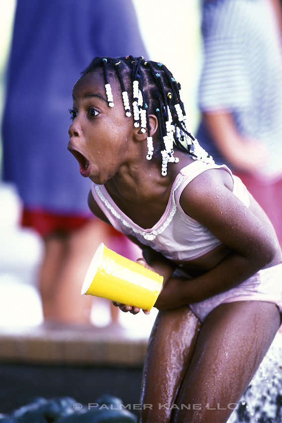 Girl in cold water at pool shocked and shivering