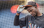 20 September 2013: Miami Marlins shortstop Adeiny Hechavarria awaits his turn in the batting cage prior to a game against the Washington Nationals at Nationals Park in Washington, DC. The Nationals defeated the Marlins 8-0 to take the second game of their 4-game series. Mandatory Credit: Ed Wolfstein Photo *** RAW (NEF) Image File Available ***