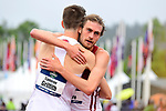 EUGENE, OR - JUNE 8: Cameron Griffith of the Arkansas Razorbacks congratulates Oliver Hoare of the Wisconsin Badgers after his victory in the 1500 meter run during the Division I Men's Outdoor Track & Field Championship held at Hayward Field on June 8, 2018 in Eugene, Oregon. (Photo by Jamie Schwaberow/NCAA Photos via Getty Images)