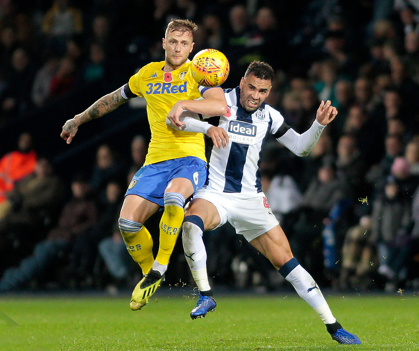 West Bromwich Albion's Hal Robson-Kanu battles with Leeds United's Liam Cooper<br /> <br /> Photographer David Shipman/CameraSport<br /> <br /> The EFL Sky Bet Championship - West Bromwich Albion v Leeds United - Saturday 10th November 2018 - The Hawthorns - West Bromwich<br /> <br /> World Copyright © 2018 CameraSport. All rights reserved. 43 Linden Ave. Countesthorpe. Leicester. England. LE8 5PG - Tel: +44 (0) 116 277 4147 - admin@camerasport.com - www.camerasport.com