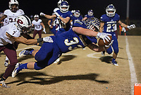 NWA Democrat-Gazette/BEN GOFF @NWABENGOFF<br /> Carson Ray (33) of Booneville evades Keonte Franklin (7), Prescott defender, to score a touchdown in the first quarter Saturday, Dec. 1, 2018, during the class 3A state semifinal game at Bearcat Stadium in Booneville.