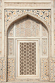 Agra, Utar Pradesh, India. Baby Taj. Lattice carved window with pietra dura (parchin kari) inlay and marble.