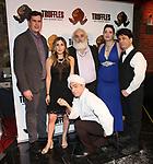 "Matthew McVey-Lee, Lindsay Lavin, Eddie Varley, John Guild, Cassie Nadeau and Steve Tardio during the Epress preview for ""Truffles: Music! Mushroom Murder!!!"" at Secret Room on November 15, 2019 in New York City."