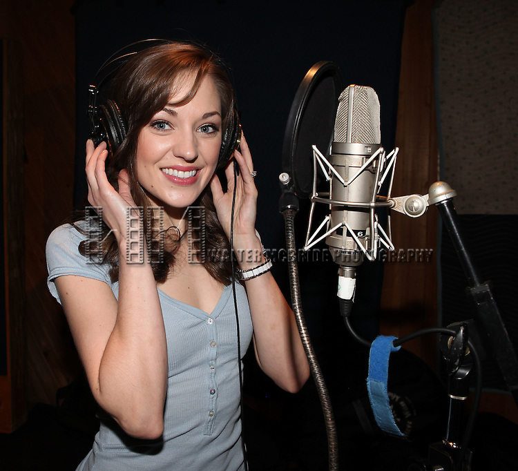 """Laura Osnes in the studio recording for the Original Broadway Cast Recording of Broadway's """"Rodgers & Hammerstein's Cinderella? at MSR Studios in New York City on 3/18/2013"""