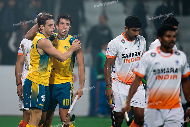 Mens Hockey World league Final Delhi 2014<br /> Day 4, 15-01-2014<br /> Australia v India<br /> Russell Ford goals for Australia<br /> Photo: Grant Treeby / treebyimages