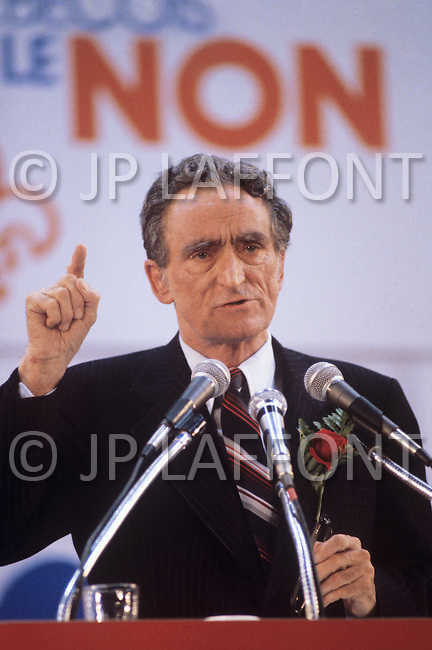 Montreal, Canada, May 21 1980. Claude Ryan,  (January 26, 1925 - February 9, 2004) leader of the Parti Libéral du Québec from 1978 to 1982.  Press conference after the proposal for Quebec independence  has been rejected in the referendum of May 20 1981.