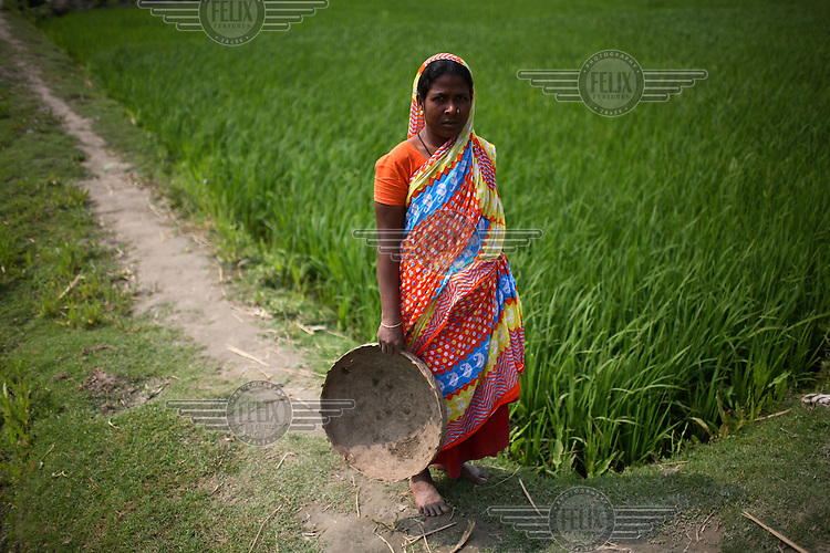 A woman stands beside a paddy field in the Dawabari river bed area. 'Chars' such as this - islands that are periodically submerged by the country's mighty rivers - are home to over five million people in Bangladesh. Life for the char dwellers is hazardous and uncertain. Flooding is common, as is loss of land and erosion, making it a struggle to grow enough food, and meaning families often need to relocate.