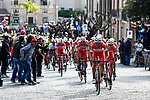 Androni Giocattoli-Sidermec on the front of the peloton during Stage 1 of Il Giro di Sicilia running 165km from Catania to Milazzo, Italy. 3rd April 2019.<br /> Picture: LaPresse/Fabio Ferrari | Cyclefile<br /> <br /> <br /> All photos usage must carry mandatory copyright credit (© Cyclefile | LaPresse/Fabio Ferrari)