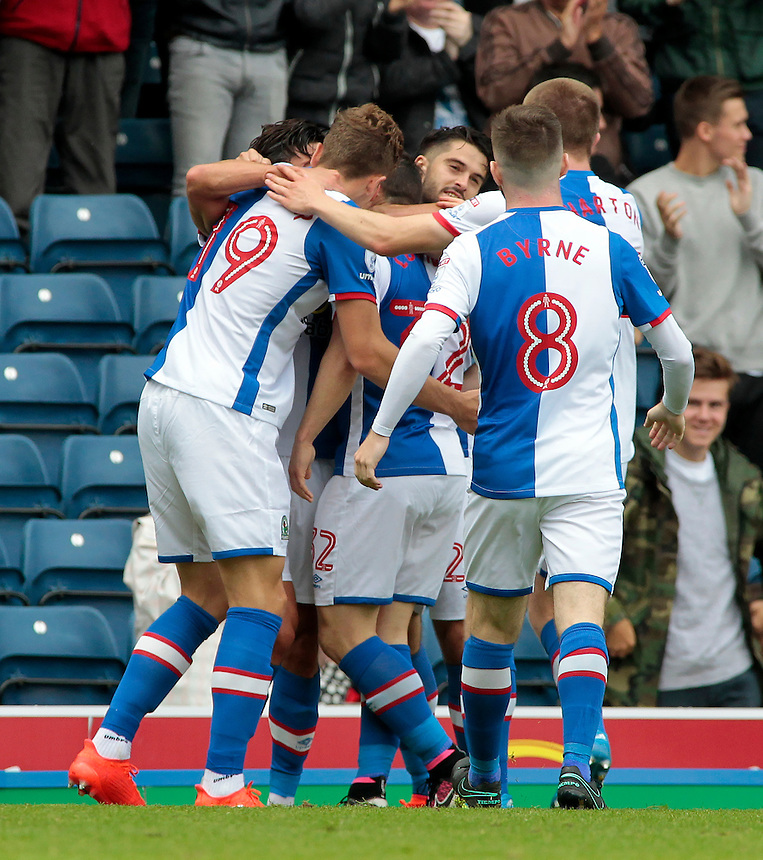 Blackburn Rovers' Craig Conway is mobbed after scoring his sides first goal <br /> <br /> Photographer David Shipman/CameraSport<br /> <br /> Football - The EFL Sky Bet Championship - Blackburn Rovers v Burton Albion - Saturday 20 August 2016 - Ewood Park - Blackburn<br /> <br /> World Copyright &copy; 2016 CameraSport. All rights reserved. 43 Linden Ave. Countesthorpe. Leicester. England. LE8 5PG - Tel: +44 (0) 116 277 4147 - admin@camerasport.com - www.camerasport.com