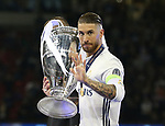 Sergio Ramos of Real Madrid with the trophy during the Champions League Final match at the Millennium Stadium, Cardiff. Picture date: June 3rd, 2017.Picture credit should read: David Klein/Sportimage