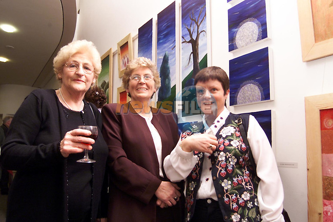 Peggie Caffrey, Wheaton Hall, Phil Tully, Slane and Anne Matthews, Donore at Helen Ann Tully's art exhibition in the Nerwgrange Interprative Centre..Picture: Paul Mohan/Newsfile
