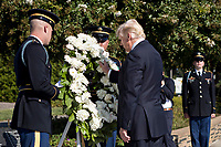 United States President Donald J. Trump, center, pauses after laying a wreath during a ceremony to commemorate the September 11, 2001 terrorist attacks, at the Pentagon in Washington, D.C., U.S., on Monday, Sept. 11, 2017. Trump is presiding over his first 9/11 commemoration on the 16th anniversary of the terrorist attacks that killed nearly 3,000 people when hijackers flew commercial airplanes into New York's World Trade Center, the Pentagon and a field near Shanksville, Pennsylvania. <br /> CAP/MPI/CNP/RS<br /> &copy;RS/CNP/MPI/Capital Pictures