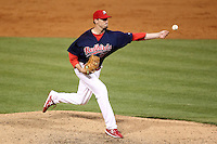 Memphis Redbirds pitcher Rich Rundles #37 delivers a pitch during a game versus the Round Rock Express at Autozone Park on April 28, 2011 in Memphis, Tennessee.  Memphis defeated Round Rock by the score of 6-5 in ten innings.  Photo By Mike Janes/Four Seam Images