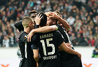 celebrate the goal, Torjubel zum 2:0 Martin Hinteregger (Eintracht Frankfurt) und David Abraham (Eintracht Frankfurt) - 24.10.2019:  Eintracht Frankfurt vs. Standard Lüttich, UEFA Europa League, Gruppenphase, Commerzbank Arena<br /> DISCLAIMER: DFL regulations prohibit any use of photographs as image sequences and/or quasi-video.