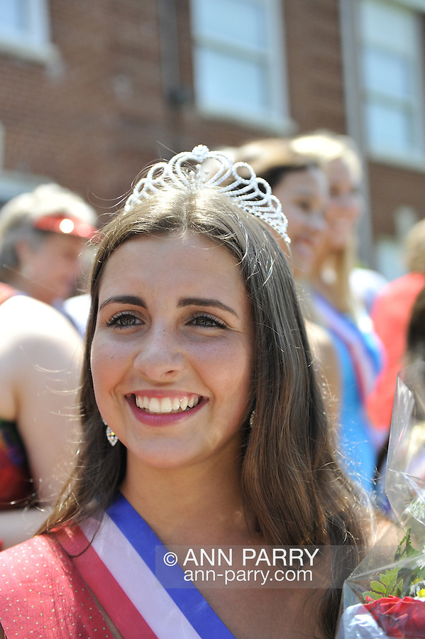 Miss Wantagh Pageant 2012 winner Hailey Orgass at crowning ceremony, a long-time Independence Day tradition on Long Island, held Wednesday, July 4, 2012, in front of Wantagh School, New York, USA. Since 1956, the Miss Wantagh Pageant, which is not a beauty pageant, has crowned a high school student based mainly on academic excellence and community service.