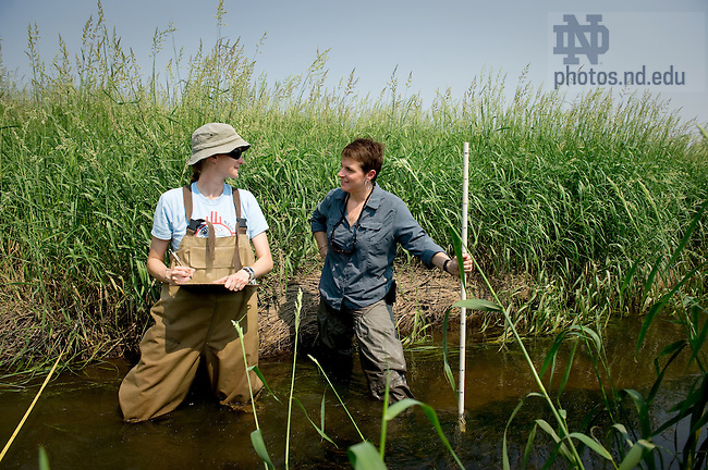 June 7, 2011; Biological Sciences professor Jennifer Tank, right, with a grad student at a stream ecology field research site in Kosciusko County, Indiana...Photo by Matt Cashore/University of Notre Dame