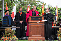 Conferring of Honorary Degree and Response - Steven Olson, Trustee, Jonathan Veitch, President, and Eric Michael Garcetti, Mayor of Los Angeles.<br /> Families, friends, faculty, staff and distinguished guests celebrate the class of 2019 during Occidental College's 137th Commencement ceremony on Sunday, May 19, 2019 in the Remsen Bird Hillside Theater.<br /> (Photo by Marc Campos, Occidental College Photographer)