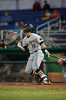 West Virginia Black Bears shortstop Robbie Glendinning (16) hits a double during a game against the Batavia Muckdogs on June 18, 2018 at Dwyer Stadium in Batavia, New York.  Batavia defeated West Virginia 9-6.  (Mike Janes/Four Seam Images)