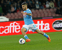 Lorenzo Insigne   in action during the Italian Serie A soccer match between SSC Napoli and AC Fiorentina   at San Paolo stadium in Naples, March 22 , 2014