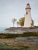 Marblehead Lighthouse State Park, OH<br /> Marblehead Lighthouse (1819) on the rocky shoreline of Lake Erie, oldest lighthouse in continuous operatoin on the great lakes