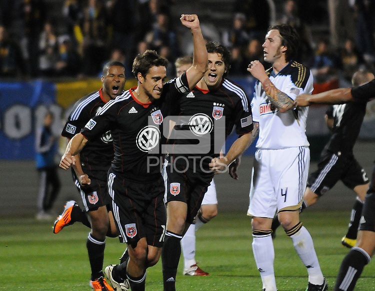 DC United forward Josh Wolff (16) celebrates his score in the 45th minute of the match.  DC United defeated The Philadelphia Union in penalty kicks 4-2 at TheLamar Hunt U.S. Open Cup match, at Maryland SoccerPlex, Wednesday April 6, 2011.