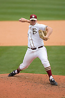 Relief pitcher Geoff Parker #21 of the Florida State Seminoles in action versus the Virginia Cavaliers at Durham Bulls Athletic Park May 24, 2009 in Durham, North Carolina. The Virginia Cavaliers defeated the Florida State Seminoles 6-3 to win the 2009 ACC Baseball Championship.  (Photo by Brian Westerholt / Four Seam Images)