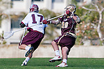Los Angeles, CA 03/08/10 - Magnus Karlsson (LMU # 17) and Matt Dumbleton (FSU # 28) in action during the Florida State-LMU MCLA interconference men's lacrosse game at Leavey Field (LMU).  Florida State defeated LMU 12-7.