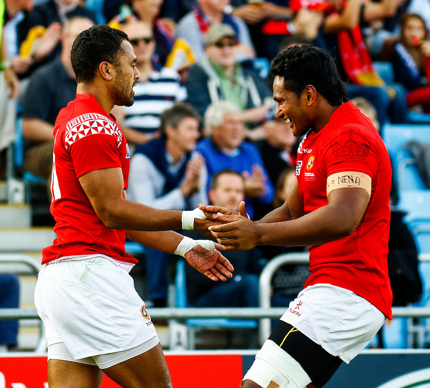 Tonga's Telusa Veainu celebrates scoring his sides first try<br /> <br /> Photographer Simon King/CameraSport<br /> <br /> Rugby Union - 2015 Rugby World Cup Pool C - Namibia v Tonga - Tuesday 29th September 2015 - Sandy Park - Exeter<br /> <br /> &copy; CameraSport - 43 Linden Ave. Countesthorpe. Leicester. England. LE8 5PG - Tel: +44 (0) 116 277 4147 - admin@camerasport.com - www.camerasport.com