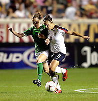 US forward Carli Lloyd (11) battles for the ball with Irish midfielder Mary McDonnell (17).  The US Women's National Team defeated Ireland 2-0 at Toyota Park in Bridgeview, IL on September 20, 2008.  Photo by Tracy Allen/isiphotos.com