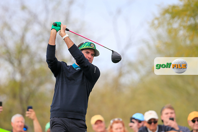 Bubba Watson (USA) on the 9th tee during the 3rd round of the Waste Management Phoenix Open, TPC Scottsdale, Scottsdale, Arisona, USA. 02/02/2019.<br /> Picture Fran Caffrey / Golffile.ie<br /> <br /> All photo usage must carry mandatory copyright credit (© Golffile | Fran Caffrey)