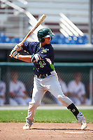 Vermont Lake Monsters first baseman Steven Pallares (14) at bat during a game against the Auburn Doubledays on July 13, 2016 at Falcon Park in Auburn, New York.  Auburn defeated Vermont 8-4.  (Mike Janes/Four Seam Images)