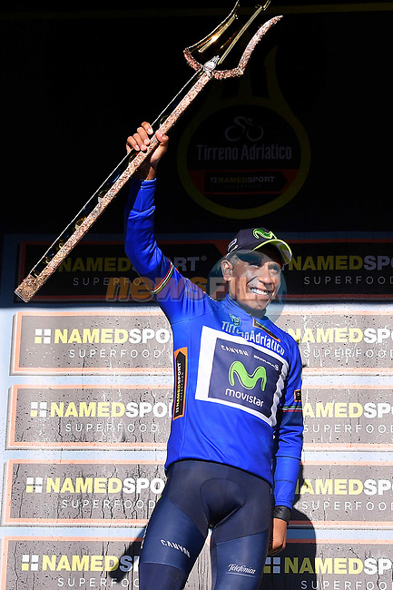 Overall winner Nairo Quintana (COL) Movistar Team holds the trophy aloft on the podium at the end of Stage 7 of the 2017 Tirreno Adriatico a 10km Individual Time Trial at San Benedetto del Tronto, Italy. 14th March 2017.<br /> Picture: La Presse/Gian Mattia D'Alberto | Cyclefile<br /> <br /> <br /> All photos usage must carry mandatory copyright credit (&copy; Cyclefile | La Presse)
