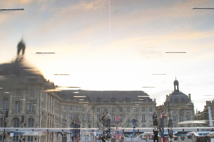 Place de la Bourse. The new fountain Miroir d'Eau, Water Mirror, making reflections. Upside down. Bordeaux city, Aquitaine, Gironde, France