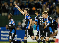 Bobby Burling of Earthquakes celebrates with teammates after Burling scored a goal during the second half of the game against Red Bull at Buck Shaw Stadium in Santa Clara, California.  San Jose Earthquakes defeated New York Red Bulls, 4-0.