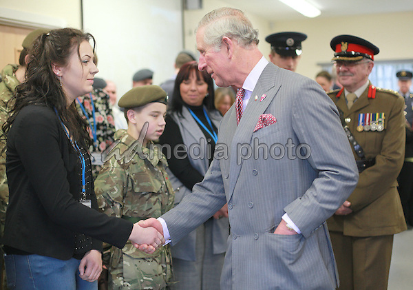 17 February 2016 - Redcar, United Kingdom - Prince Charles The Prince of Wales visiting the new Redcar Joint Cadet Facility to meet young cadets from the Army Cadet Force and the Air Training Corps. His Royal Highness heard about their training and role in the local community. Photo Credit: Alpha Press/AdMedia
