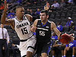 SIOUX FALLS, SD: MARCH 5: 	John Konchar #55 of IPFW drives past Tre'Shawn Thurman #15 of Omaha during the Summit League Basketball Championship on March 5, 2017 at the Denny Sanford Premier Center in Sioux Falls, SD. (Photo by Dick Carlson/Inertia)