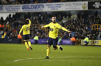 Blackburn Rovers' Adam Armstrong celebrates scoring his side's second goal '<br /> <br /> Photographer Rob Newell/CameraSport<br /> <br /> The EFL Sky Bet Championship - Millwall v Blackburn Rovers - Saturday 12th January 2019 - The Den - London<br /> <br /> World Copyright &copy; 2019 CameraSport. All rights reserved. 43 Linden Ave. Countesthorpe. Leicester. England. LE8 5PG - Tel: +44 (0) 116 277 4147 - admin@camerasport.com - www.camerasport.com