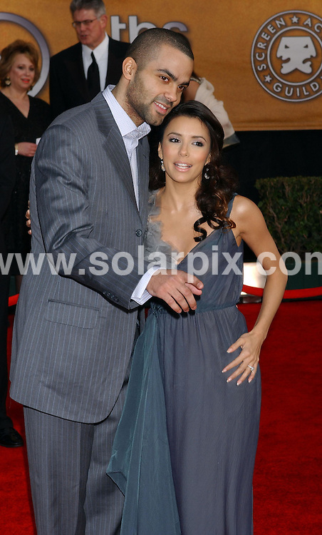 **ALL ROUND PICTURES FROM SOLARPIX.COM**.**WORLDWIDE SYNDICATION RIGHTS EXCLUDING - FRANCE** .Tony Parker and Eva Longoria arrive at the 13th annual SAG Awards at the Shrine Auditorium in Hollywood on 28.01.07.  ...DATE: 28.01.07-JOB REF: 3287-GLS.**MUST CREDIT SOLARPIX.COM OR DOUBLE FEE WILL BE CHARGED**