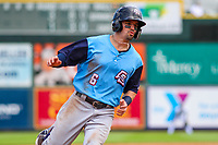Colorado Springs Sky Sox second baseman Nate Orf (6) rounds third base during a Pacific Coast League game against the Iowa Cubs on June 23, 2018 at Principal Park in Des Moines, Iowa. Colorado Springs defeated Iowa 4-2. (Brad Krause/Four Seam Images)