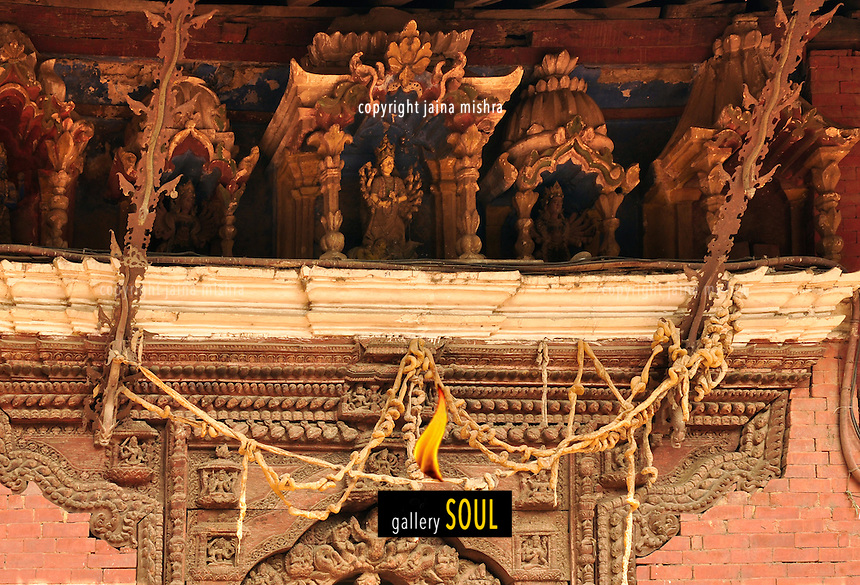 Buffalo Intestines decorating the entrance of the the heritage temples at Dashain festival, Kathmandu, Nepal