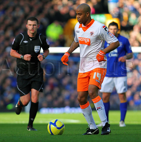 18.2.2012 Liverpool, England.  Blackpool French Midfielder Ludovic Sylvestre in action during the Budweiser FA Cup match between Everton and Blackpool, played at Goodison Park. Everton won by a score of 2-0 to move into the 6th round.