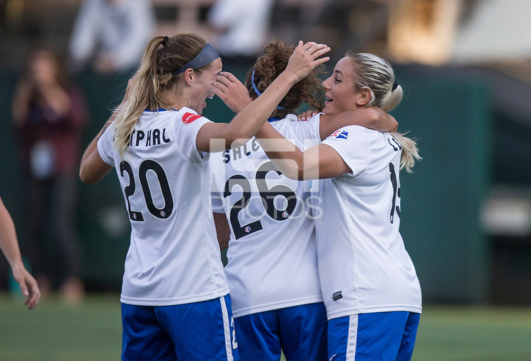 Seattle, WA - Saturday July 15, 2017: Christen Westphal, Angela Salem, Adriana Leon during a regular season National Women's Soccer League (NWSL) match between the Seattle Reign FC and the Boston Breakers at Memorial Stadium.