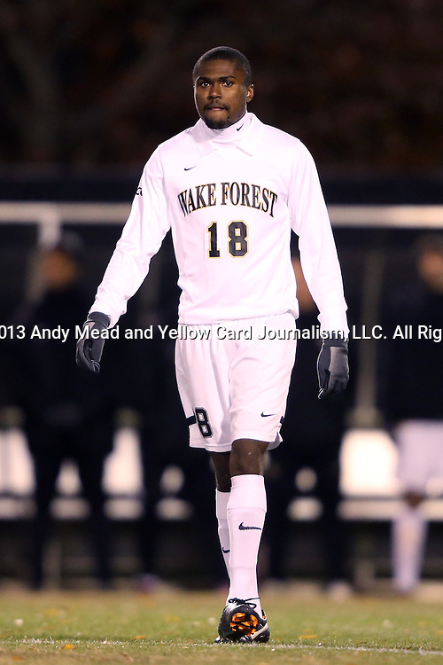 12 November 2013: Wake Forest's Chris Duvall. The Wake Forest University Demon Deacons hosted the University of Virginia Cavaliers at Spry Stadium in Winston-Salem, North Carolina in a 2013 NCAA Division I Men's Soccer match and the quarterfinals of the Atlantic Coast Conference tournament. Virginia won the game 1-0 in overtime.