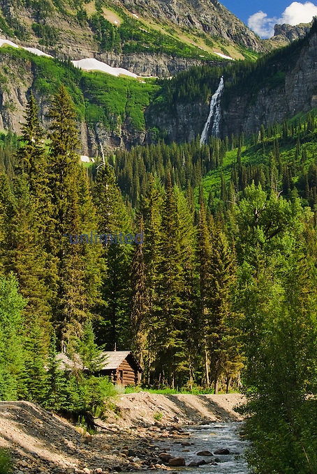 Wilderness Cabin and Old Woman Falls, Glacier National Park, Montana, USA