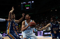 SPAIN, Madrid: Real Madrid's Mexican player Gustavo Ayon and Ucam Murcia&acute;s Spanish player Jose Angel Antelo Paredes during the Liga Endesa Basket 2014/15 match between Real Madrid and Ucam Murcia, at Palacio de los Deportes in Madrid on November 16, 2014 /NortePhoto<br />