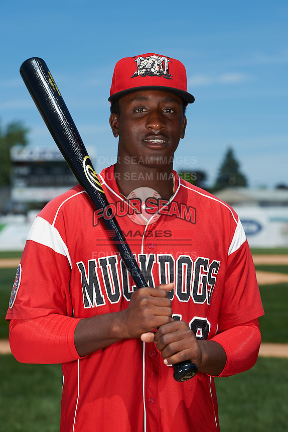 Batavia Muckdogs outfielder Isaiah White (18) poses for a photo before the teams first practice on June 15, 2016 at Dwyer Stadium in Batavia, New York.  (Mike Janes/Four Seam Images)