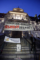 October 5, 2012 - Montreal. Quebec , Canada - A small group of demonstrators protest in front of City Hall, asking for Mayor Gerald Tremblay resignation in the wake of corruption allegations unveiled at Charbonneau enquiry commission.