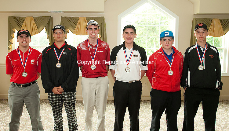 WATERTOWN, CT-060514JS04--Members of the All-Brass team, from left, Zach Adams (Wolcott); Don Catania (Wolcott); Tyler Young (Torrington); Ryan Warner (Woodland); Brendan Critchley (St. Paul) and Anthony Guerrera (Watertown) at the NVL golf championships Thursday at the Watertown Golf Club.<br /> Jim Shannon Republican-American