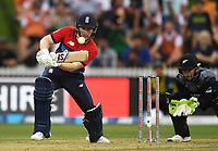 England captain Eoin Morgan.<br /> New Zealand Black Caps v England.Tri-Series International Twenty20 cricket. Eden Park, Auckland, New Zealand. Sunday 18 February 2018. &copy; Copyright Photo: Andrew Cornaga / www.Photosport.nz